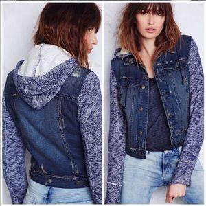Free People Knit Jean Jacket size M